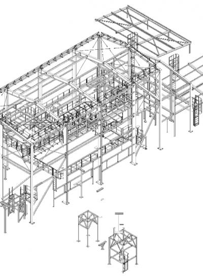 Teräsrakenteine laitos rakennekuva
